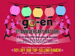 Go-En Ramen's 3rd Anniversary Matsuri: 50% Off Ramen