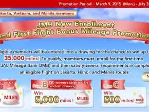JAL Bonus Miles Campaign:  New JMB Customers First Flight Bonus Mileage Promo