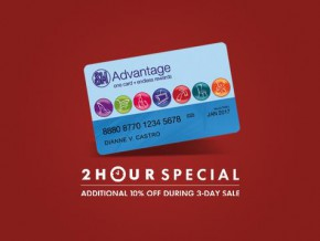 SM Advantage Card 2-HOUR Special: Additional 10% OFF on May 29