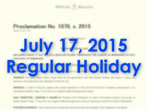 July 17: A Regular Holiday in Observance of Eid'l Fitr