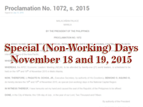 Holiday on November 18-19 in NCR