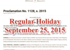 Sept 25 Declared a Regular Holiday as Muslims Observe Eid'l Adha