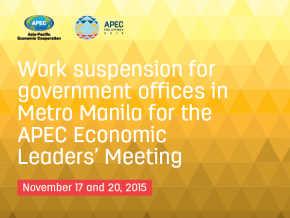Government Offices Close on November 17 and 20 for APEC Summit 2015