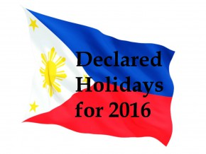 Schedule of Holidays in 2016