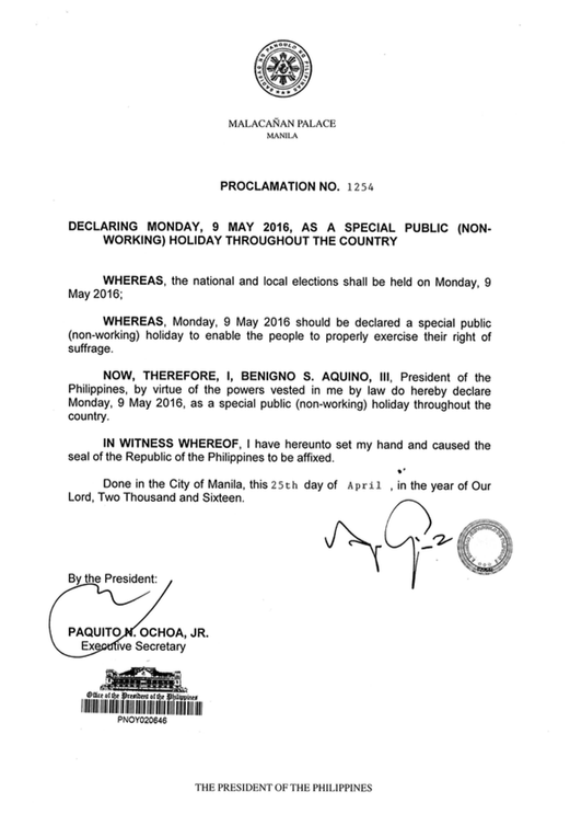 Election Day Declared As A Special Non Working Holiday