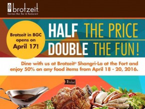 50% Off! Brotzeit welcomes its BGC customers with a bang