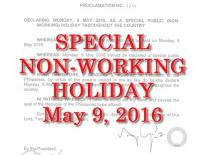 Election Day declared as a special non-working holiday