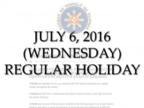July 6 declared a non-working holiday for Eid'l Fitr
