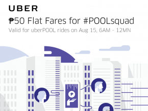 Just for today: ₱50 Flat Fare on uberPool rides from 6AM to 12 MN
