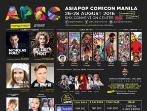 AsiaPOP Comicon Manila 2016 released its final Roster of Celebrity Headliners