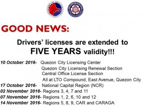 NCR driver's licenses now valid for 5 years; other regions to follow in November