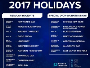 List of Philippine Holidays in 2017