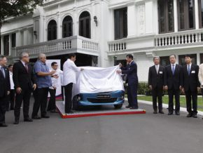 The first Mitsubishi Mirage made in PH presented to President Duterte