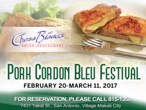 Chesa Bianca's 'Pork Cordon Bleu Festival' starts on Feb. 20