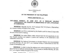 Palace declares June 26 as regular holiday