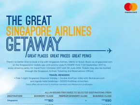 Enjoy great deals with Singapore Airlines and MasterCard!