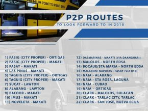 DOTr releases list of P2P routes to be offered in 2018