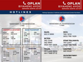 DOTR Hotlines for Holy Week in PH