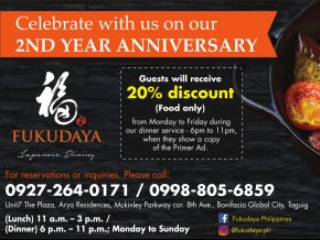 PROMO: Fukudaya in BGC Gives out Special Discount for Second Anniversary