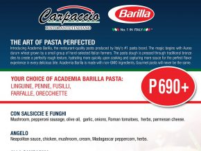 PROMO: Your Favorite Carpaccio Ristorante Pasta Dishes for Only Php 690!