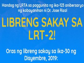 LRT-2 to Give Free Rides on December 30 to Commemorate Rizal Day