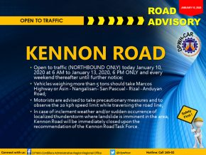 Baguio-Bound Vehicles Can Now Pass by Kennon Road on Weekends