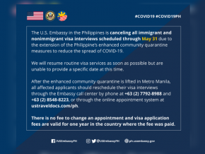 U.S. Embassy in the Philippines Cancels Visa Interviews Through May 31