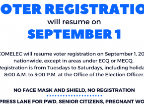 Voters Registration To Resume in NCR and Nearby Provinces on September 1