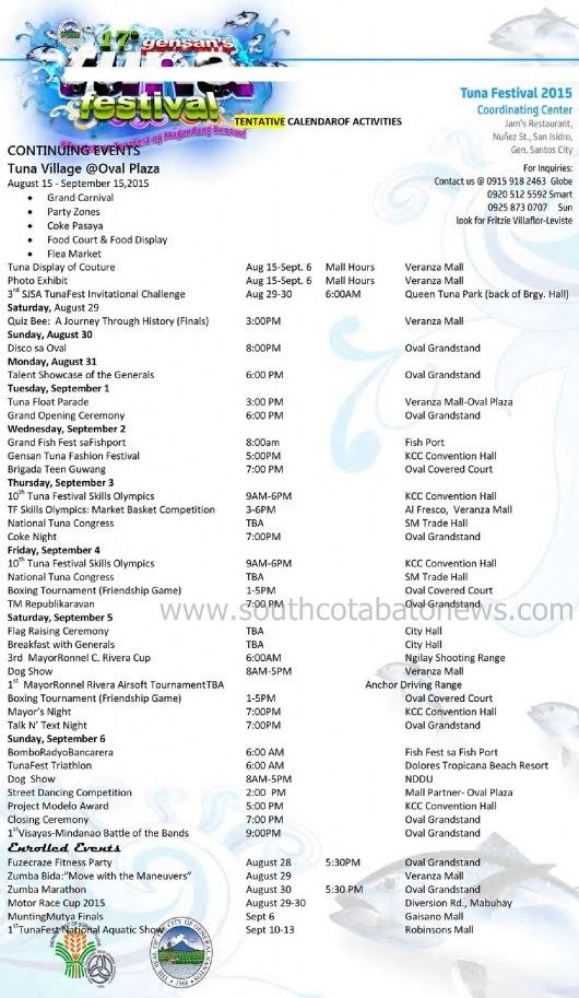 Gensan Tuna Festival 2015 Schedule
