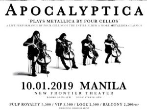 Finnish Band Apocalyptica Plays Metallica by Four Cellos LIVE in Manila! @ New Frontier Theater