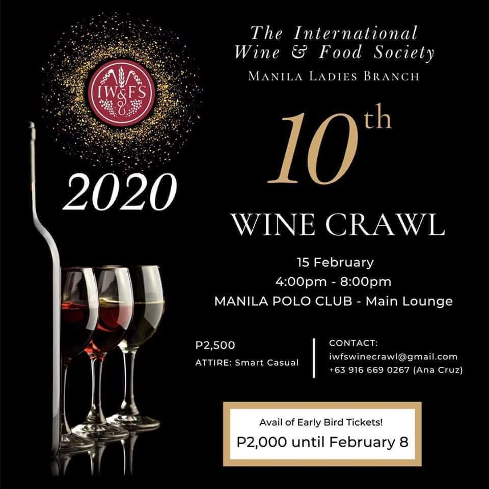 The 10th Wine Crawl by IWFS Manila Ladies Is Happening on February 15 @ Manila Polo Club Main Lounge