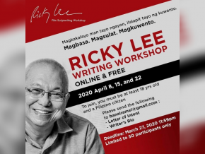 Acclaimed Writer Ricky Lee to Hold Free Online Writing Workshop This April
