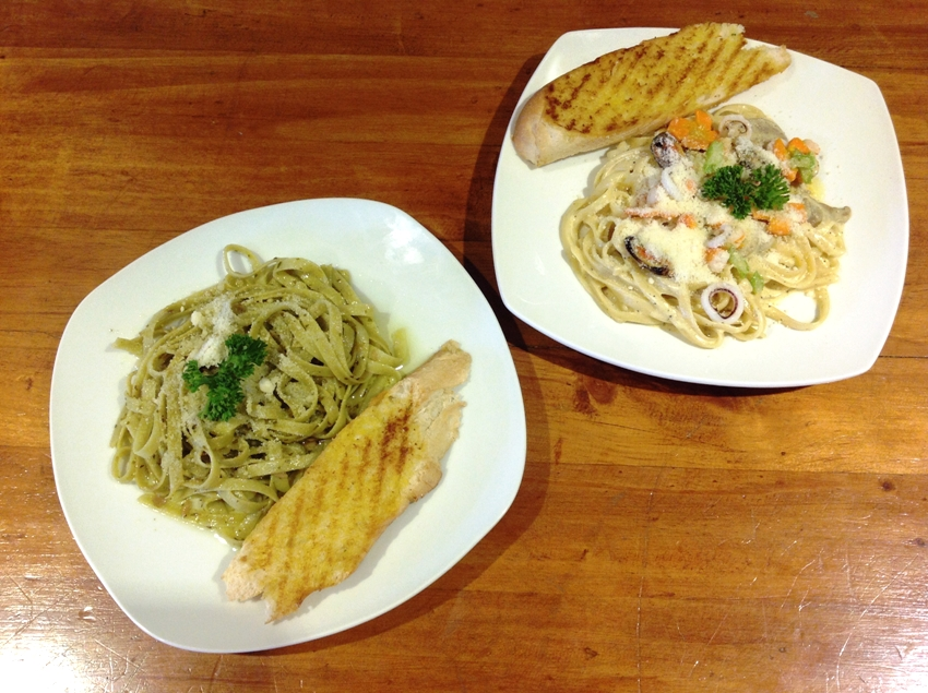 PHOTO 6 (L-R) CaRobinara (P 120) and Sherlock's Seafood Pasta (P 140)