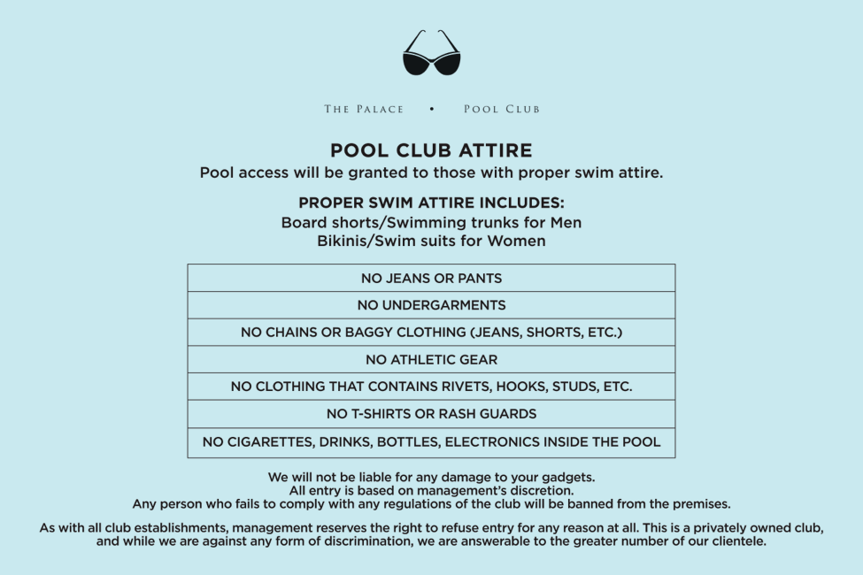 The Palace Pool Club Philippine Primer