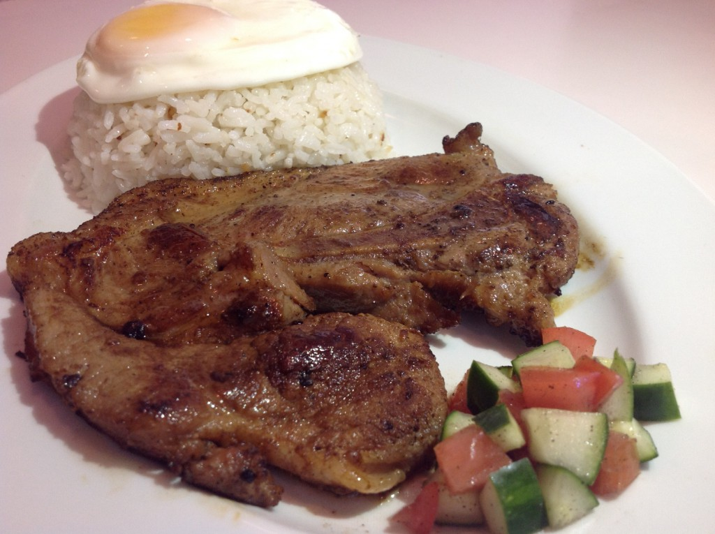 Pork Steak. Marinated Pork Steakpan-fried to perfection, served with egg and garlic rice. Coffee included#6_re