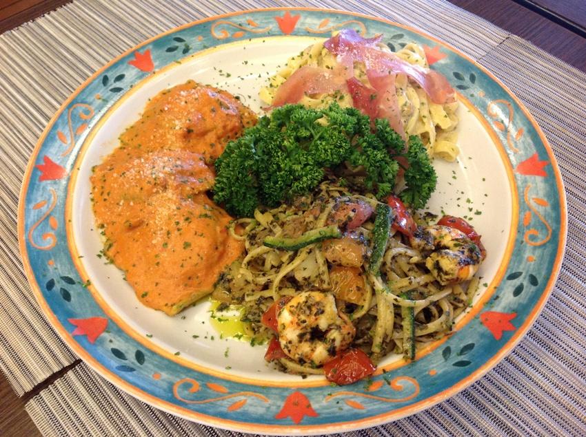 Trittico Pasta (three kinds of pasta of your choice) (L-R) Ravioli Verde, Pasta Alla Nina and Tartufo