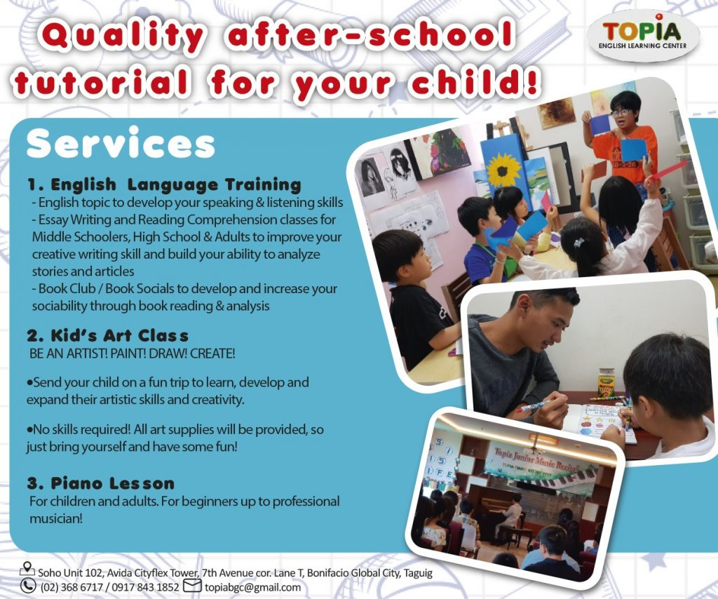 Topia English Learning Center in BGC: Academics, Arts, and